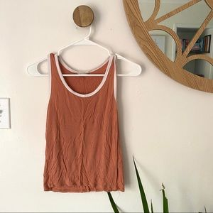 Forever 21 Peach/ White Tank WOMENS MEDIUM